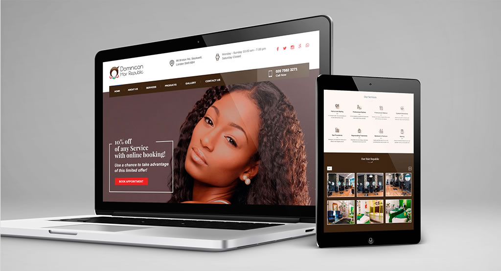 rjr design studio hair salon web design london